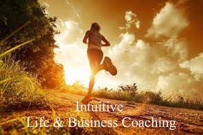 Picture lady running in morning with Intuitive Life & Business Coaching words