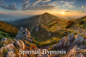 Picture of sun setting with mountains and Spiritual Hypnosis on it